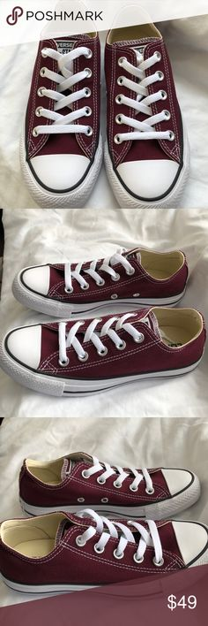 20efe946815 Converse NWT Unisex Burgundy Low sneakers W 5 M 3 Brand New With Box Box  shows some wear Comes from a smoke free pet free environment Converse Shoes  ...