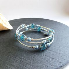 Turquoise and blue Swarovski memory wire by FayeValentineJewelry