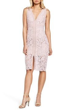 Free shipping and returns on Bardot Morgan Front Slit Lace Sheath Dress at Nordstrom.com. Geometric trim adds a modern note to a classic lace sheath dress styled with double V-necklines. A peekaboo hem and alluring front slit complete the updated look.