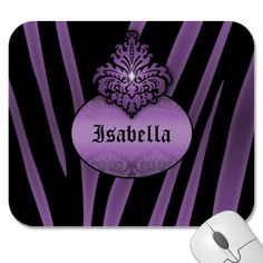 Purple Black Zebra Striped with Nameplate Mouse Pads