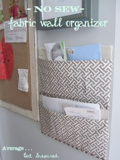 A Diaper Box Becomes a No Sew Fabric Wall Organizer - Wohnwagen Wand Organizer, Mail Organizer Wall, Wall Organization, Wall Storage, Diy Storage, Fabric Organizer, Diaper Box Storage, Diaper Boxes, Creative Storage