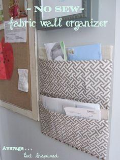 easy no sew fabric wall organizer made with a diaper box! // directions at averagebutinspired.com
