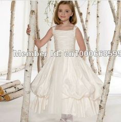 F211310 Spaghetti Straps Draped Tiered Ball Gown Satin White Color Flower Girl Dresses Wholesale Custom Made Free Shipping