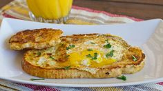 French Toasted Egg In a Hole – easy and fun to make breakfast with your kids. Take your traditional French toast, make a hole in the middle and add an egg.