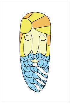 """Surfing Art 8"""" x 12"""" Art Print """"Surf Beard"""""""