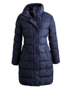 Joules Langridge Womens Padded Jacket Long Length Winter Coat in Marine Navy