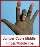 jumper-cabling middle toes/fingers
