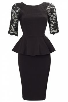 So Couture - 50s Dovima Black Lace Peplum Pencil dress
