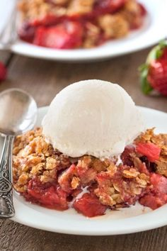 Gluten-Free Strawberry Rhubarb Crumble  This quick and easy gluten-free strawberry rhubarb crumble is generously topped with a simple oat-based streusel and is the perfect spring dessert!