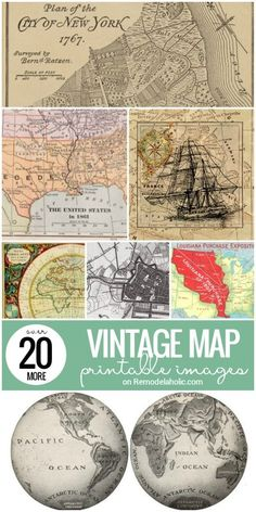 In addition to the vintage map printable images we collected before, now we have 20 MORE printable vintage maps for decorating and crafts -- enough to cure a bit of wanderlust! See them all at Rem (Diy Art Vintage) Printable Images, Printable Wall Art, Printable Vintage, Free Printable World Map, Images Vintage, Vintage Maps, Antique Maps, Vintage Diy, Vintage Map Decor