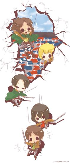 Attack on Chibi!! Hanji Zoe, Armin Arlert, Levi, Mikasa Ackerman, and Eren Yaeger. Attack on Titan.