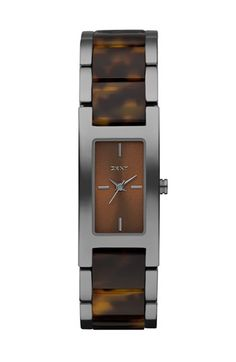 Gunmetal/Tortoise Shell, DKNY Small Rectangular Bracelet Watch | Nordstrom