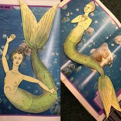 Articulated paper doll of a mermaid - my favorite part is the fact that her head rotates around, so there are two options for faces - one more normal, one more fishy. I also like her extra long tail (more poses!) and webbed fingers (because let's be honest, that would be super useful).