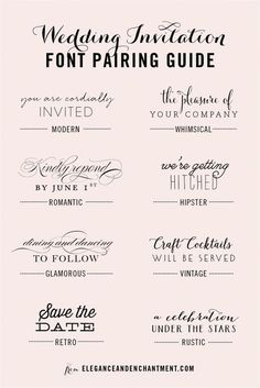 Wedding Invitation Font and Pairing Guide from Elegance and Enchantment // Great combinations of script and serif/sans serif typography for any style! fonts and calligraphy Wedding Invitation Font Pairing Guide Create Wedding Invitations, Wedding Invitation Fonts, Vintage Wedding Invitations, Rustic Invitations, Wedding Stationary, Wedding Fonts Free, Typography Wedding Invitations, Wedding Invitations Elegant Modern, Whimsical Wedding Invitations