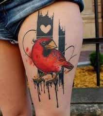 upper thigh tattoos - Red robin ? Black work , heart