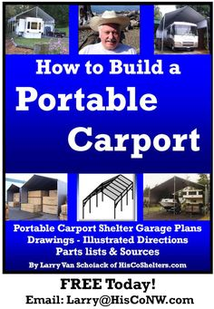 My Book Includes   * Step-by-step instructions   * Many pictures   * Portable Carport Plans   * Drawings   * Parts Lists   * Material Resources  See video, In this video, I will walk you through the process on how to build your PORTABLE   CARPORT: https://youtu.be/1dkCXDTJ9Fw **See More Here: www.HisCoShelters.com   #carport #shelter #portable