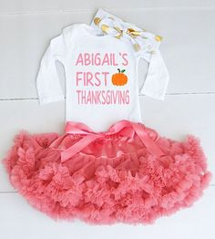 1st Thanksgiving Onesie - My First Thanksgiving Baby Girl Thanksgiving Outfit - Thanksgiving Bodysuit for Baby Girls - Personalized Outfit