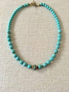 Turquoise Magnesite Necklace, Tibetan Bead Necklace, Turquoise Necklace, Unique Gift, Gift for Her Beaded Statement Necklace, Diy Necklace, Beaded Earrings, Beaded Jewelry, Necklace Tutorial, Clay Jewelry, Jewelry Art, Jewelry Design, Jewellery
