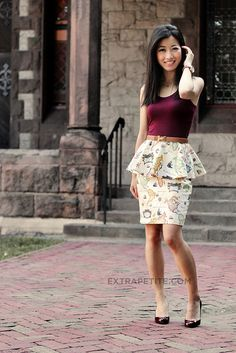 Jean wearing @Sarah Chintomby Mandell White Petite Gal's peplum map skirt. favorite style blog ever.