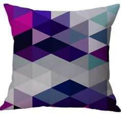 Colorful Geometric Design Linen Cotton Office Indoor Use Square Throw Pillow