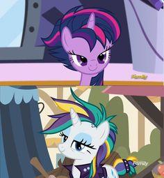 #1536781 - alternate hairstyle, castle sweet castle, it isn't the mane thing about you, mohawk, punkity, punklight sparkle, raripunk, rarity, safe, screencap, spoiler:s07e19, twilight sparkle - Derpibooru - My Little Pony: Friendship is Magic Imageboard