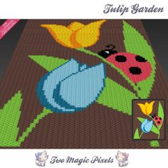 Looking for your next project? You're going to love Tulip Garden c2c graph crochet pattern by designer TwoMagicPixels.