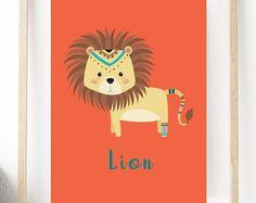 Jungle Nursery Art,Digital Art Print,Lion Print Wall Decor,Childrens Prints,Nursery Prints,Home Decor,Nature Print,Jungle Animals,Gift