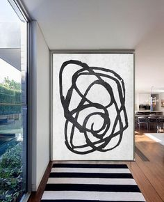 Black and White Minimal Painting MN105B by Celine Ziang Art (CZ Art Design), Hand painted vertical abstract art.