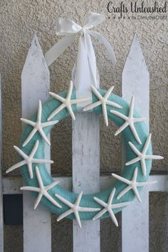 Beachy Starfish Yarn Wreath