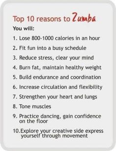 Top 10 reasons for Zumba.