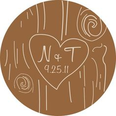 We Are In Love Wood Carving Monogram Wedding design.  Personalized stickers by partyINK