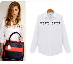 EU Style Hot women shirt little buddy embroidered girl blouse long sleeve button down great