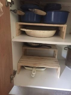 Having storage for your various pots and pans is a necessity to have in your kitchen. But, it can easily become a cluttered mess when tossing all of your bowls and plates into one drawer. Stay organized using this Kitchen DIY Storage Cabinet piece. Diy Storage Cabinets, Kitchen Cupboard Storage, Diy Cupboards, Diy Kitchen Cabinets, Kitchen Cabinet Doors, Kitchen Organization, Kitchen Decor, Cupboard Ideas, Kitchen Furniture