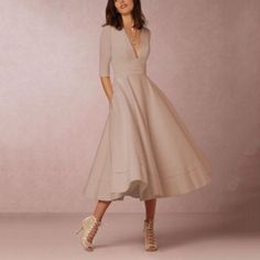 Women's A Line Dresses, Half Sleeve Dresses, Fall Dresses, Half Sleeves, Elegant Dresses, Beige Dresses, Dresses With Sleeves, Formal Dresses, Wedding Dresses