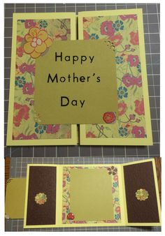 Mother's Day card Card stock, scrap-booking paper, punches, embellishments, scoreboard, paper trimmer, ribbon, Cuttlebug, adhesive runnner, ribbon, markers, colored pencils, stickers.