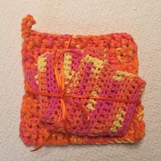 Bright Fall Leaves Trivet and Dishcloth Set 100% by jabcrochet