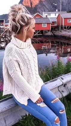 Kye Oversized Chunky Knit Sweater #beautyfashion