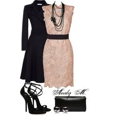 A fashion look from August 2013 featuring short lace dress, navy coat and heeled sandals. Browse and shop related looks. Dressy Outfits, Nice Outfits, Fashion Books, Fashion Pics, Outfit Combinations, Complete Outfits, Dresses For Teens, Dress Me Up, Skirt Fashion