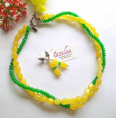 Inspired by SPRING !! Gorgeous layered green & yellow gemstone beaded necklace earrings set. Handmade with Lots of Love. Enjoy!! Necklace Set, Beaded Necklace, Beaded Bracelets, Green Gemstones, Earring Set, Gemstone Beads, Inspired, Yellow, Spring