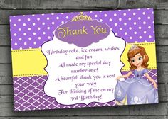 Sofia The First Thank You Card Kids by PartyPrintableInvite It's Your Birthday, Birthday Ideas, Birthday Parties, Sofia The First, Think Of Me, Party Printables, Birthday Party Invitations, Special Day, Thank You Cards