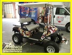Who said you can't wrap a golf cart? #golfcart #wraps #FSUcamo