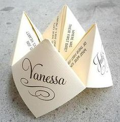 "wedding game ideas. No link but like the idea with ""hidden"" facts about the couple if you can remember how to make the ""fortune tellers"" we made bake in the 90's.... :)"