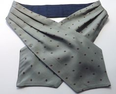 VINTAGE SILK and COTTON DAY CRAVAT ASCOT Grey Patterned Reverse Blue  FREE P&P #Cravat