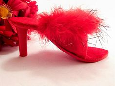 Red Velvet Marabou Slipper Miniature High by SpringJewelryThings