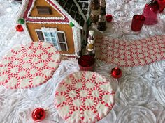 Gingerbread House and Peppermint Road Tablescape