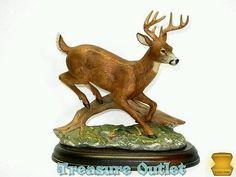 Vintage 1986 Homco Masterpiece Porcelain Buck Deer Jumping Log Figurine On Base