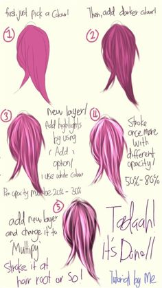 This the most requested tutorial! Sorry, Im not good at tutorials.< (i forgot to add stroke with black colour at the last step! Digital Art Tutorial, Digital Painting Tutorials, Art Tutorials, Paper Drawing, Drawing Base, Drawing Tips, Photoshop Hair, How To Shade, Hair Reference