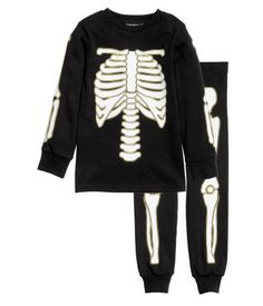 Tricot pyjama   Zwart/skelet   Kinderen   H&M NL