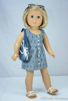 American Girl or 18 Inch Doll /DRESS in Navy by LorelieCreations