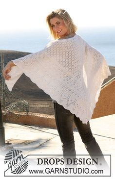 """DROPS knitted shawl in """"Alpaca"""" with various lace patterns."""